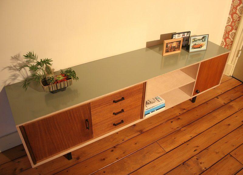 multiplex tv meubel met vintage lades / verkocht